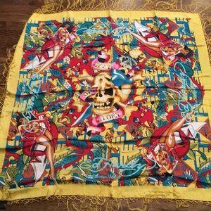 Ed Hardy silk square scarf
